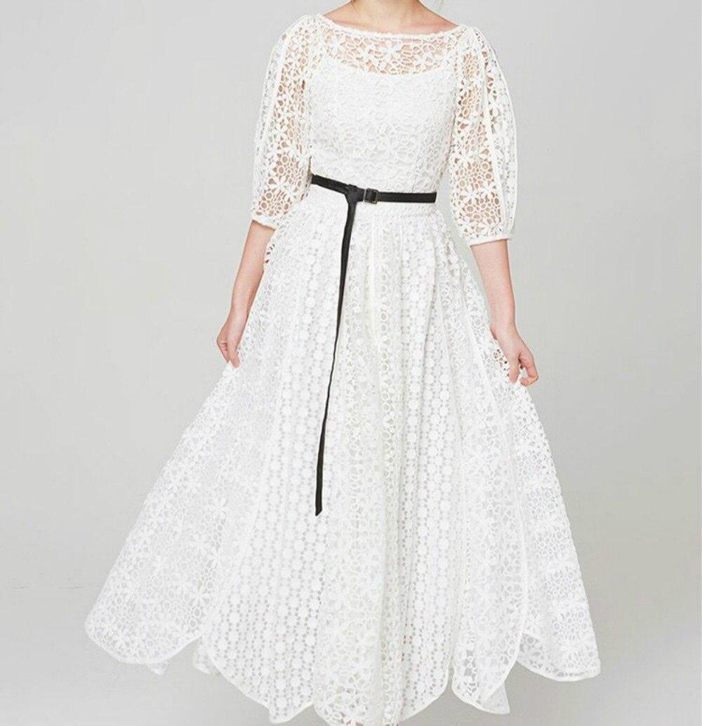 Piste élégante robe femmes Maxi Long blanc Sexy dentelle évider 2018 été Designer femme a-ligne robe partie haut de gamme Vintage
