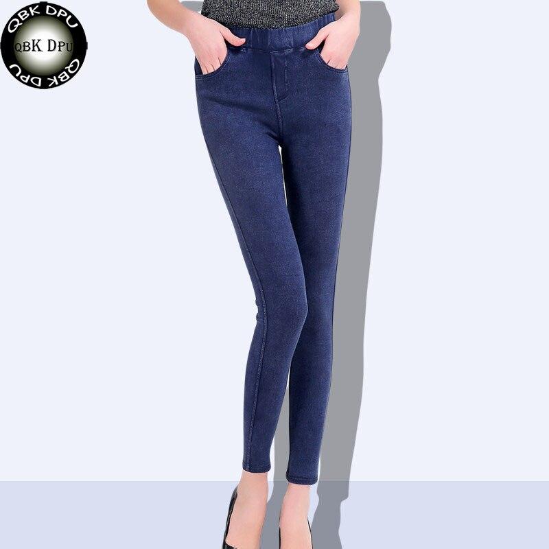 2019 Spring Mom Plus Size Casual Women Jeans Pencil Pants Slim Stretch Cotton Denim Trousers for woman M-6XL Slim Skinny Jeans