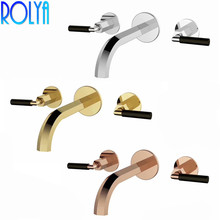 ROLYA Double Handles Wall Mounted Basin Faucet Bathroom Sink Mixer Hot and Cold Tap Rose Golden/Chrome