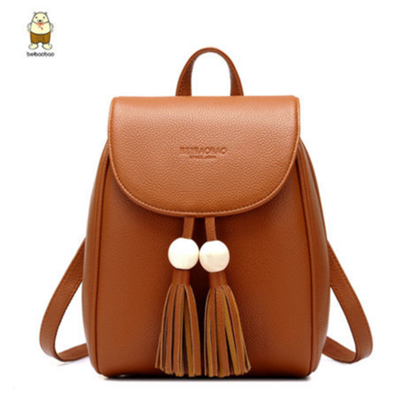 Women high quality PU Leather Backpack Tassel Backpacks Teenage Girls Vintage Shoulder Bags Casual School Bag Black Rucksack zhierna brand women bow backpacks pu leather backpack travel casual bags high quality girls school bag for teenagers