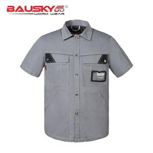 Image 2 - גברים של workwear אחיד עבודת חולצה קצר שרוול עם כיסים עבור מכונאי קרפנטר