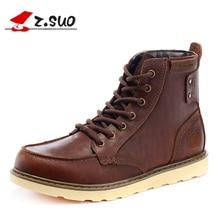 Z. SUO/мужские сапоги. Из воловьей кожи модные ботинки мужские, цилиндр в чистый цвет с мужские повседневные ботинки, Botas Hombre zs15086