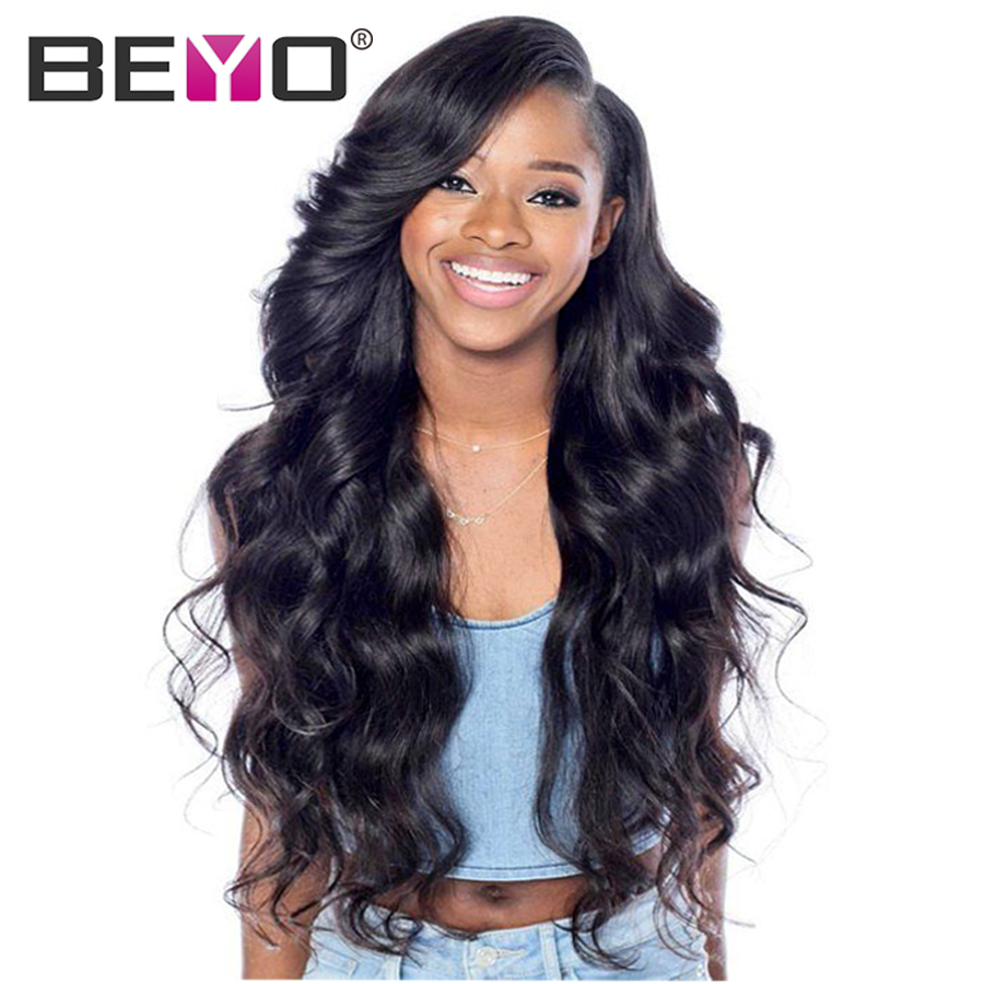 Beyo Hair Lace Front Human Hair Wigs For Women Pre Plucked Peruvian Body Wave Wig With Baby Hair 10-26 Inch Non-Remy Hair ...