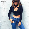 Women's Sexy Front Tied Halter T Shirt 2016 Autumn Long Sleeve Deep V Neck Crop Tops Tees Black Knitted Cotton T-Shirts SH233