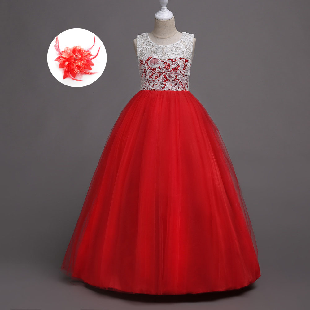 Childrens Special Occasions Flower Red Evening Party Christmas Dress Girls Wedding Party Dresses Withe with Flowers Red for Girl exactly as pic red gold flower wedding girls dresses with shining flower headband pearls christmas party dress for girls pt93