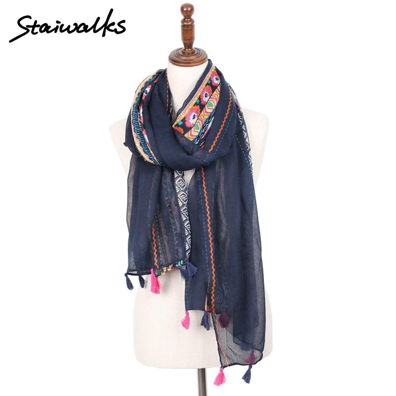Staiwalks Fashion Polyester Vintage Tassel Scarf With Geometric Tribal Flower Print For Women Nice Quality Shawl Free Shipping
