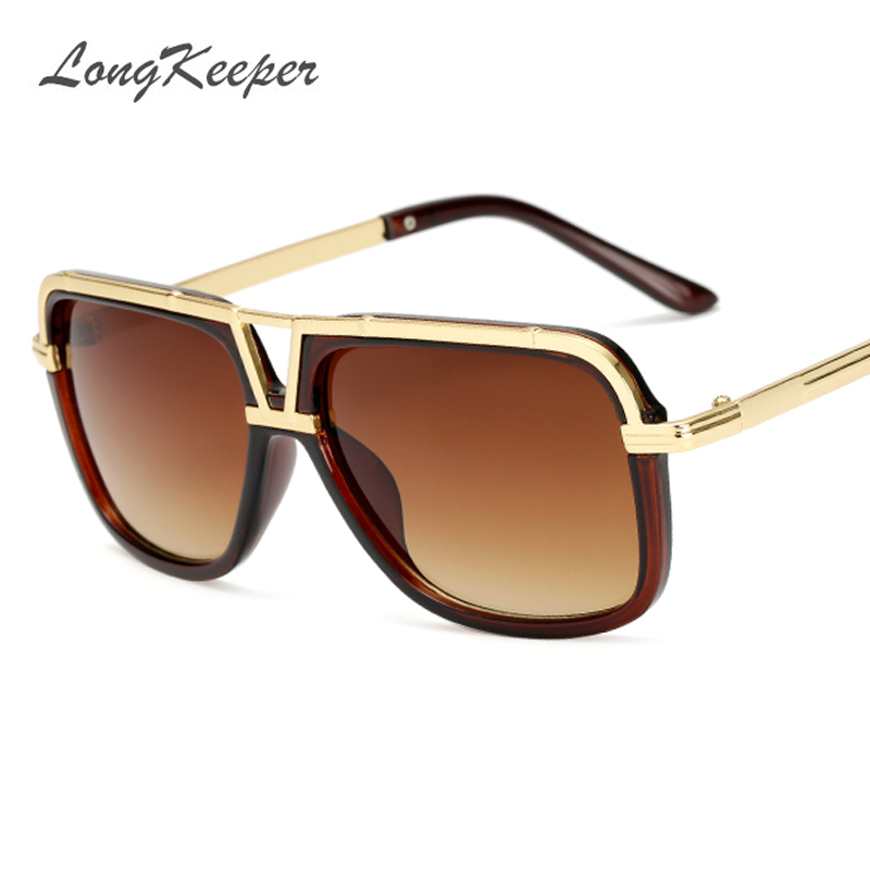 LongKeeper Männer Sonnenbrillen New Big Frame Goggle Sommer Stil Marke Design Sonnenbrille Gafas De Sol UV400 KP18002