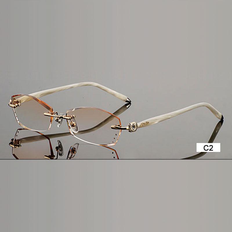 Modne očala B002 Diamantno obrezovanje rezalnih okvirjev brezhibnih očal na recept Okvir za očala za ženske