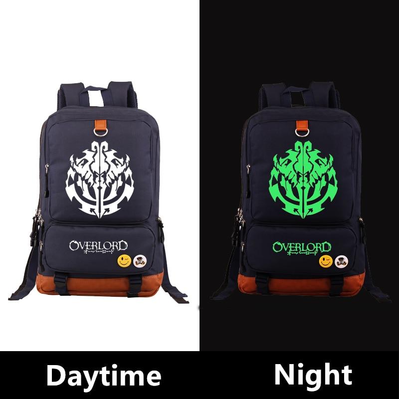 2017 Japanese Anime Overlord Green Luminous Printing Large Capacity Canvas Men Travel Bags Military Backpack Mochila Feminina