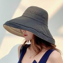 Анти-УФ, с широкими полями, хлопок, лен, шляпа от солнца для женщин, для отдыха, лето, Панама, складная Панама, шляпа с большими полями, Корейская пляжная шляпа от солнца