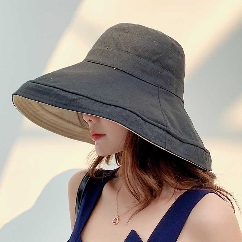 KAIXINJIA Chapeau De Soleil en Lin De Coton /À Large Bord Anti-UV pour Femmes Vacances /Ét/é Panama Chapeau De Seau Pliable Grand Bord De Plage