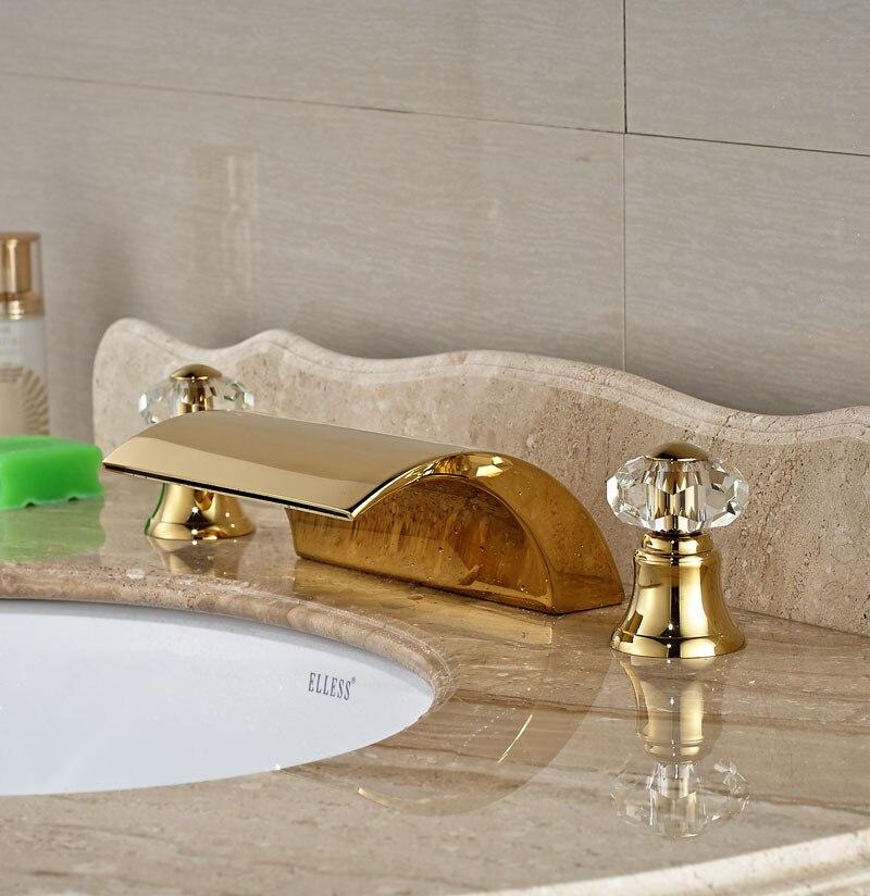 Golden Finish Waterfall Tub Faucet Bathroom Crystal Handles Tap Mixer Faucet