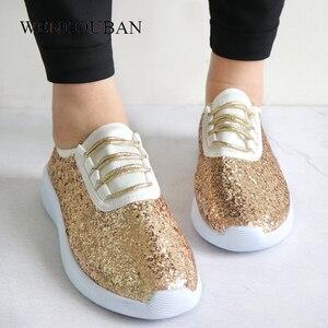 Image 5 - Sapatilhas femininas bling sapatos das senhoras verão brilho tainers mulheres sapatilhas brancas sparkly sapatos casuais cesta femme zapatos mujer