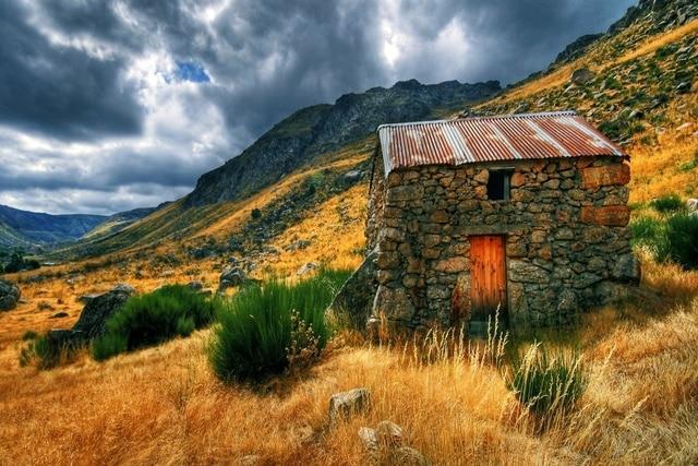 Natur herbst berg stein haus KC207 wohnzimmer home wand moderne ...