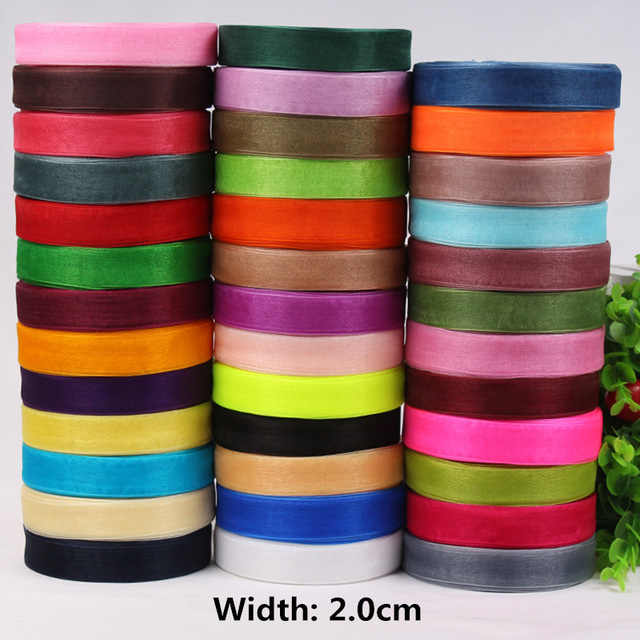 2cm (50Yard 45m) Organza Chiffon ribbon Sewing art handmade DIY materials supplies wedding cake decoration holiday gift packages