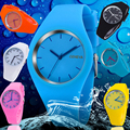 Free shipping 2016 Fashion Ice cream color Ultra-thin fashion gift silicone watch Geneva silicone Wristwatch W212