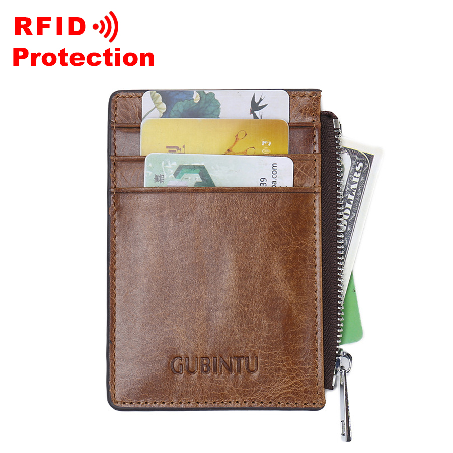 100%Genuine Leather Card ID Holder Women Men Wallet Credit Card ...