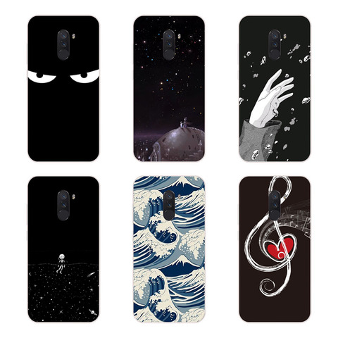 Xiaomi Pocophone F1 Case,Silicon Black graffiti Painting Soft TPU Back Cover for Xiaomi Pocophone F1 Protect Phone cases shell Lahore