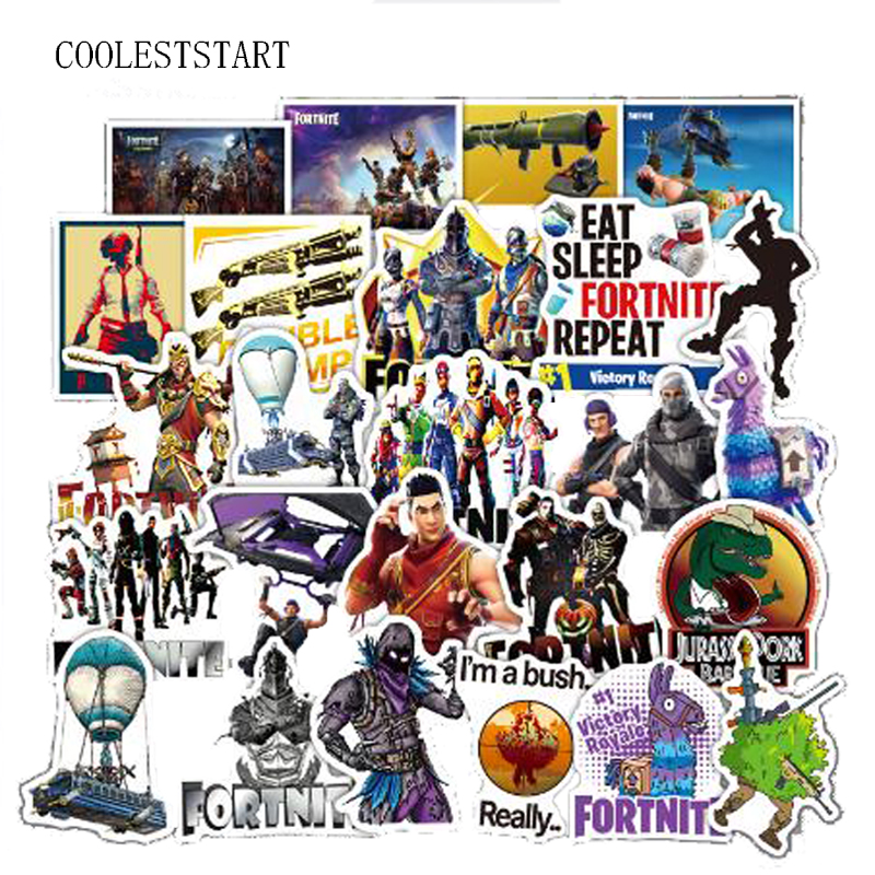 45 Pcs/set Fortnite Stickers Hot Game Sticker For Laptop Luggage Car Moto Bike Doodle Decals Cool Waterproof Sticker Car Styling sticker doodle russian dolls
