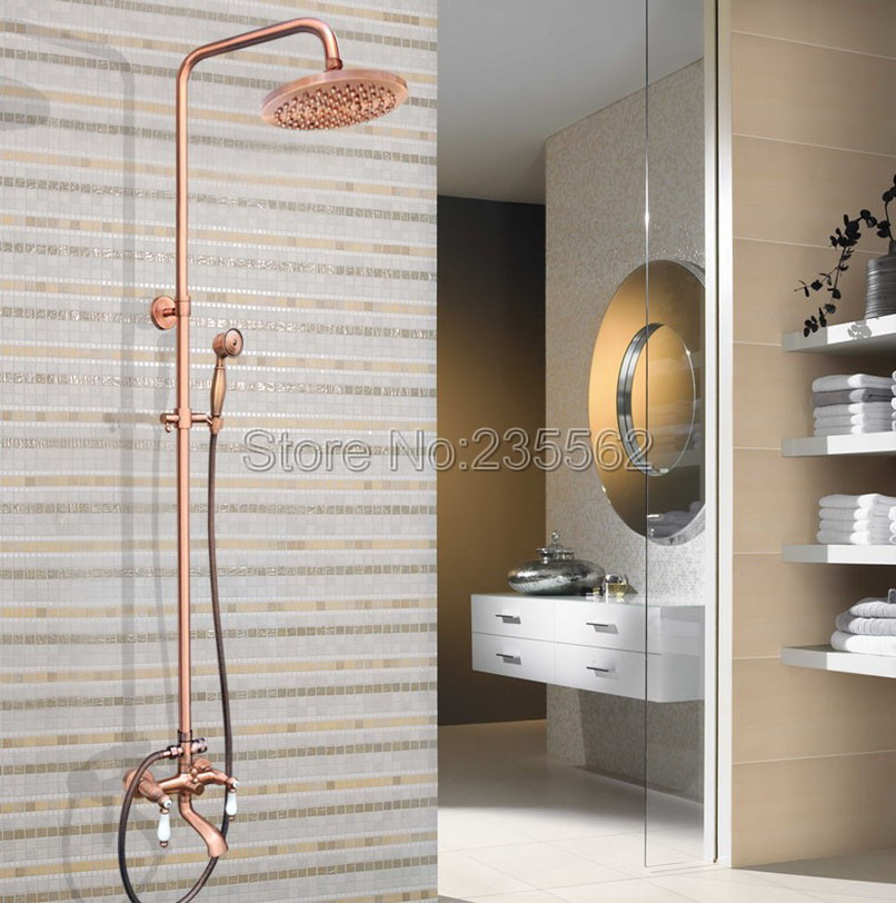 Modern Bathroom Wall Mounted Rain Shower Faucet Set Red Copper ...