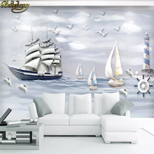 beibehang custom Sailing sailboat Mural wallpaper for walls 3 d wallpapers for living room 3D photo murals wall paper kids room beibehang wholesale boat jack sparrow mural pirate 3d cartoon mural wallpaper for baby children kids room 3d wall murals fresco