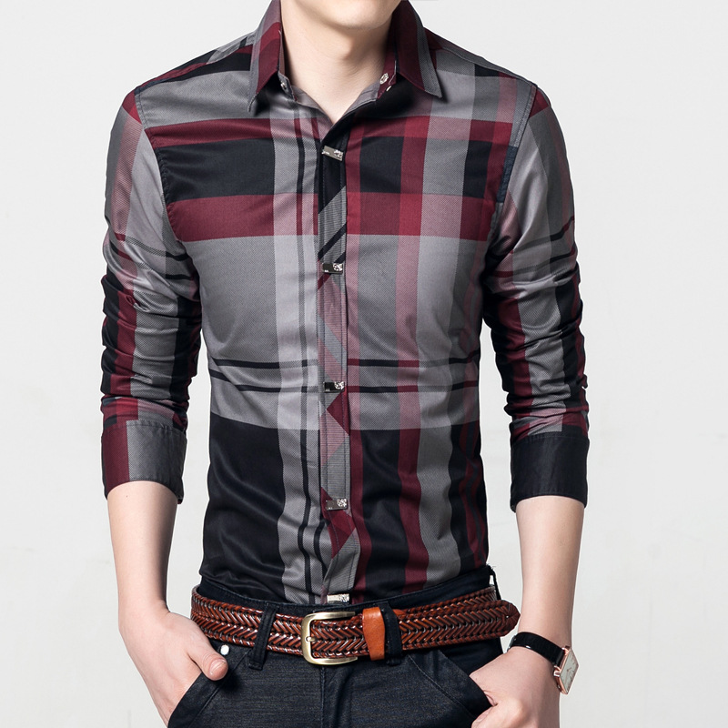 Luxury High quality Men Shirts Fashion Long Sleeve Cotton Casual Business social shirt Red and Gray Striped male Clothing 5XL