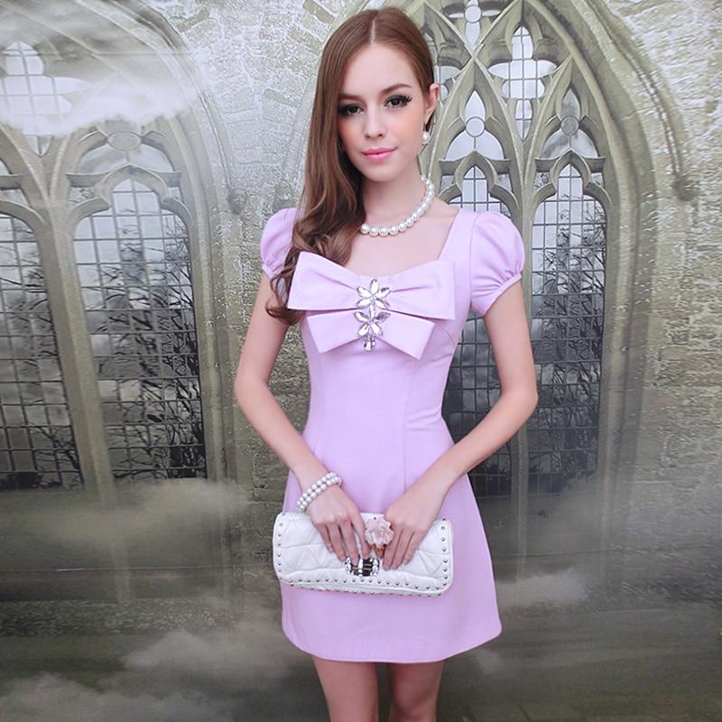 original Brand Summer dress purple with artificial gem bow waist dress A pendulum vintage bow waist bubble dress
