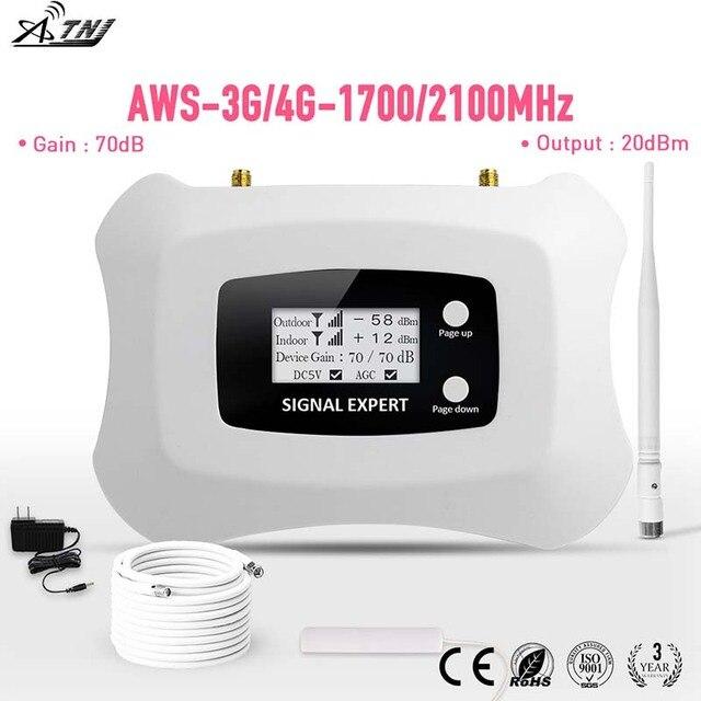 ขายร้อน! Full LCD AWS 1700 MHz 3G LTE 4G Repeater โทรศัพท์มือถือสัญญาณ Repeater Cellular SIGNAL Amplifier booster