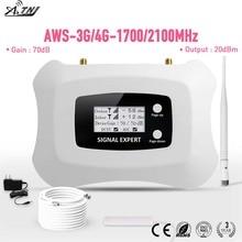 Grosses soldes! LCD entièrement intelligent AWS 1700mhz 3G LTE 4G répéteur téléphone portable répéteur de Signal Mobile amplificateur de signal cellulaire booster