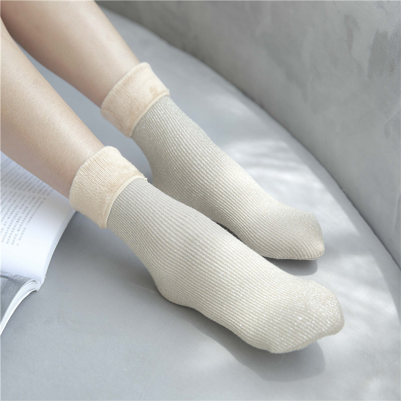 Women Socks Winter 1 Pair Long Socks Girls Cotton High Quality Solid Color Fashion Winter Warm Towel Warm Socks Women Lady