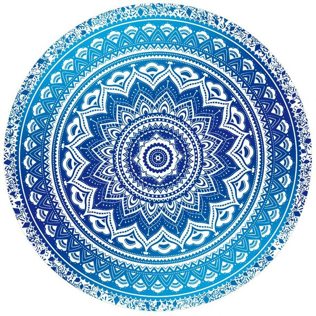 Blue And White Porcelain Indian Mandala Round Beach Throw