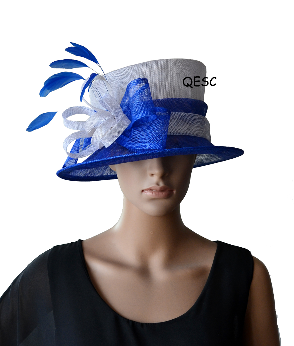 c33308f4b0edd Wholesale Elegant NEW Navy blue Formal Dress women s hat Sinamay Hat  Fascinator for Kentucky Derby