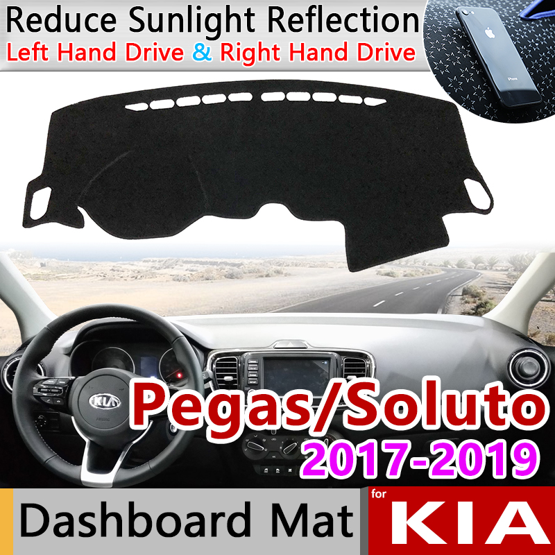 For KIA Pegas 2017 2018 2019 Soluto Anti-Slip Mat Dashboard Cover Pad Sunshade Dashmat Protect Carpet Anti-UV Car Accessories