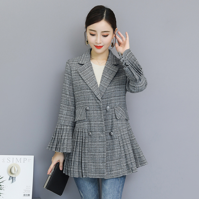 Blazer Korean fashion Pleated Flare sleeve
