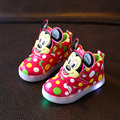 Niños Zapatos Con Muchachos Luz Led Iluminado Zapatillas de Deporte Nueva Primavera Otoño Dots Muchachas de La Manera de Mickey Los Niños Zapatos Tamaño 21-30