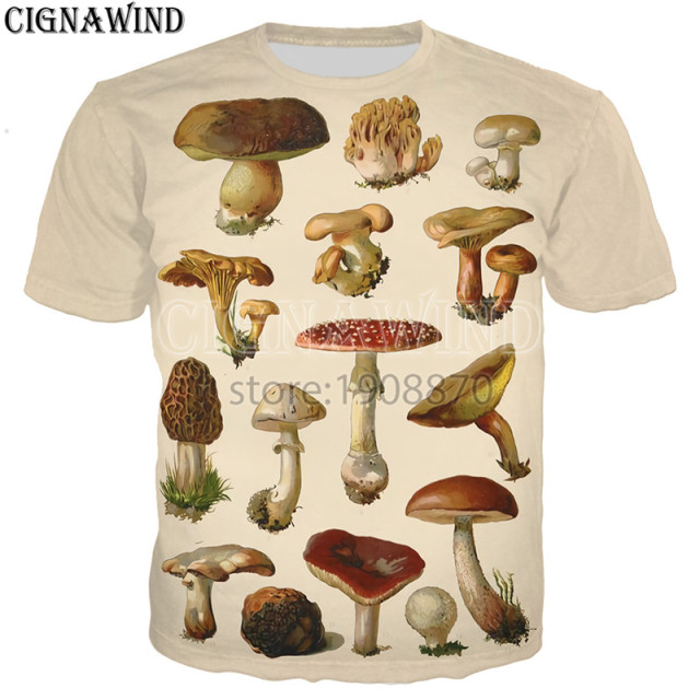New arrive fashion popular mushroom collage t shirt men women 3D printed Novelty harajuku tshirt streetwear casual summer tops