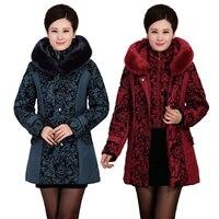 2016 Marca jaqueta de inverno mulheres de Meia Idade Engrosse Quente acolchoado-Algodão Fino Feminino Plus Size Gola De Pele Casaco de inverno Mulheres Parka
