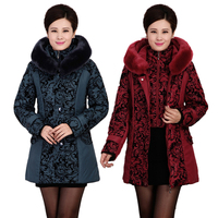2014Winter Middle Aged Women Thick Warm Padded Down Jacket Winter Women Long Sections Slim Plus Size