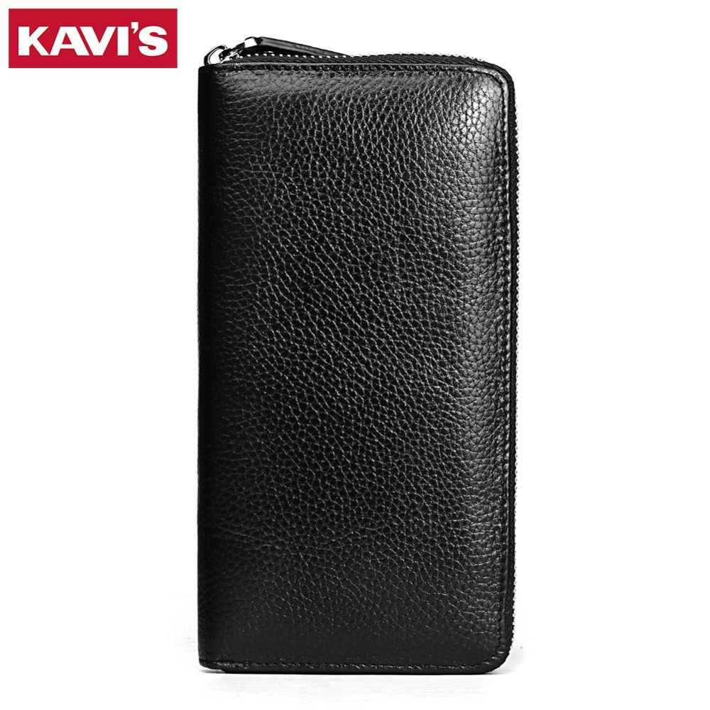 KAVIS 2019 moda Cartera de cuero genuino para mujer Walet Lady Magic Vallet Money Bag Clutch práctico para niñas Rfid monedero