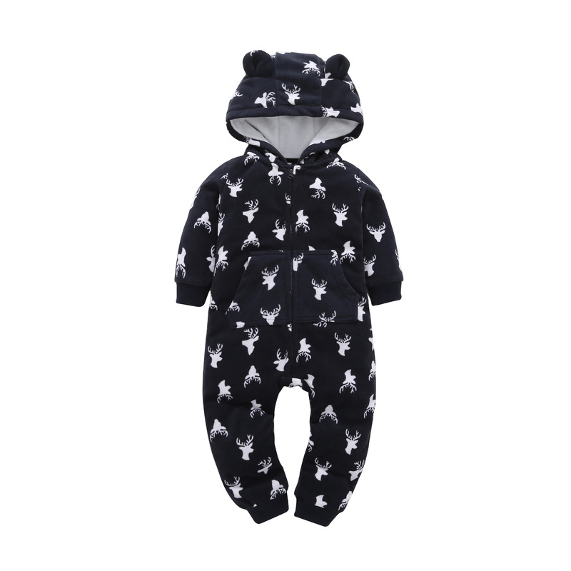 Winter Baby Romper Thick Fleece Warm Cartoon Jumpsuit Infant Baby Girl Clothes Toddler Hooded Baby Boy clothes Jumpsuits