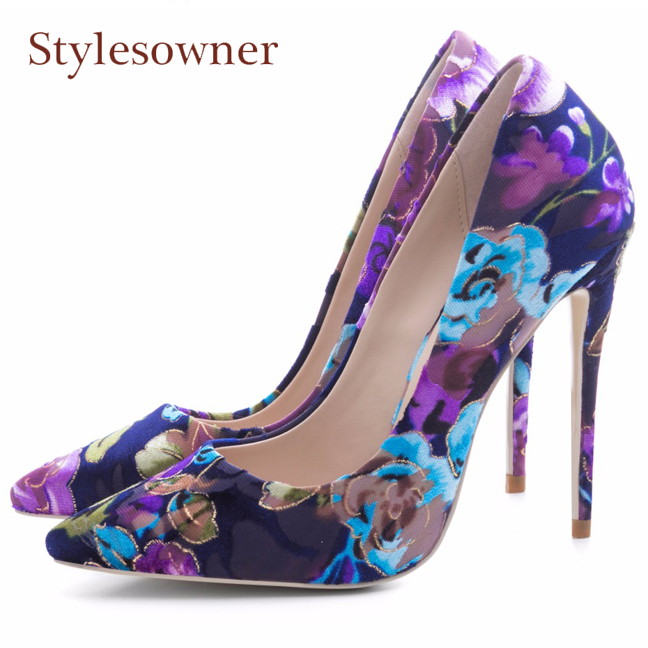 Stylesowner 2018 spring new women pumps printing flowers shoes sexy pointed toe thin high heel party wedding shoes females moonmeek spring summer new arrive high heels pointed toe with buckle sexy flock thin heel women pumps wedding party shoes