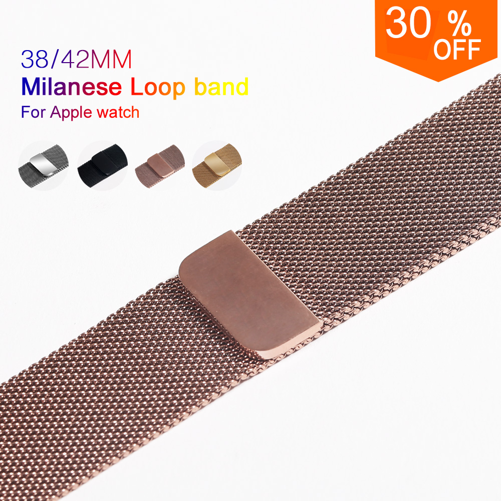 Milanese Loop Band for Apple Watch 38/42mm Series 1/2/3 Stainless Steel Strap Belt Metal Wristwatch Bracelet Replacement. eastar milanese loop stainless steel watchband for apple watch series 3 2 1 double buckle 42 mm 38 mm strap for iwatch band