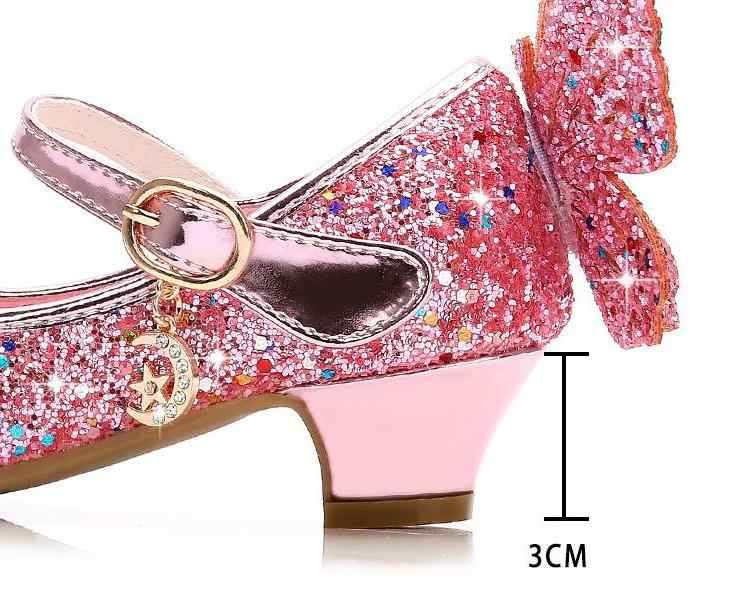 Children Girl Bling Princess Ankle Strap Glitter Butterfly Dress Cuban Heel Shoe
