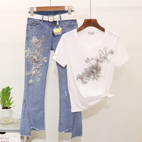 Summer Tee Tops Denim Pants Suit Women Fashion Beading 3D Flower Short Sleeve T shirt Micro flare Jeans Pants Set Casual Outfits