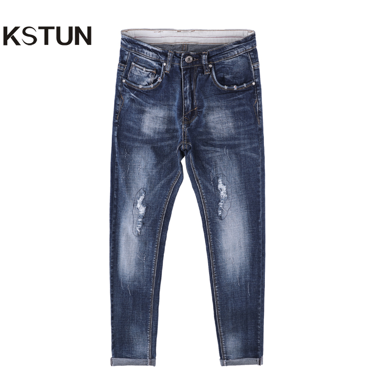 Autumn Jeans Men Ripped Broken Holes Washed Quality Slim Fit Jeans Stretch Tapered Students Yong Man Denim Pants Homme 36 men distressed knee holed jeans vintage enzyme washed male ripped denim pants slim fit korean fashion kpop broken jeans