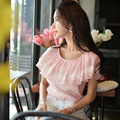 Original 2016 Brand Blouse Lace Flower Light Pink Short Sleeve Slim Casual Elegant Chiffon Shirts Women Summer style Wholesale