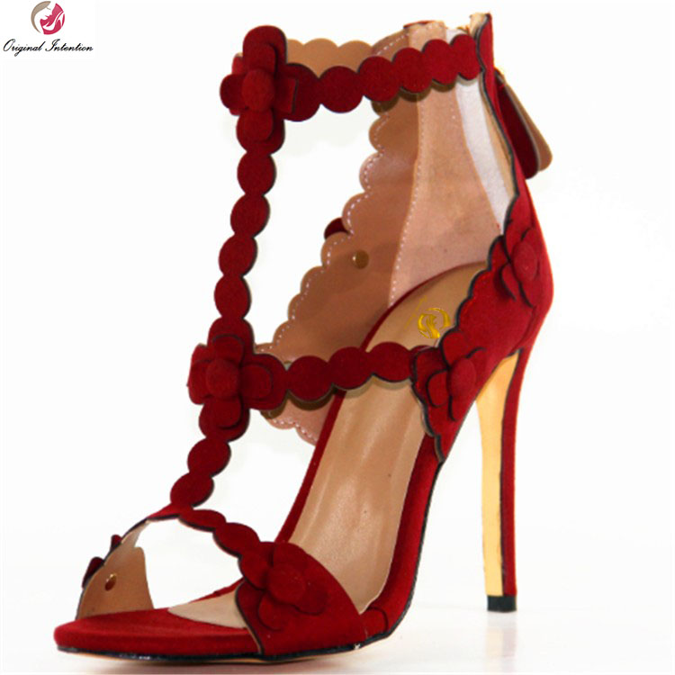 Original Intention New Elegant Women Sandals Sexy Open Toe Thin Heel Sandals Stylish Red Colors Shoes Woman Plus US Size 4-10.5 hot selling sexy sloid thin heels sandals woman new desig lace red white black sandals peep toe elegant for women free sipping