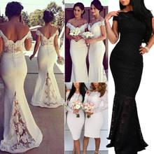 5c15a43bd9 2019 verano mujer elegante blanco vestido de novia de encaje boda Sexy  Formal de fiesta de noche largo vestido fuera de hombro v.