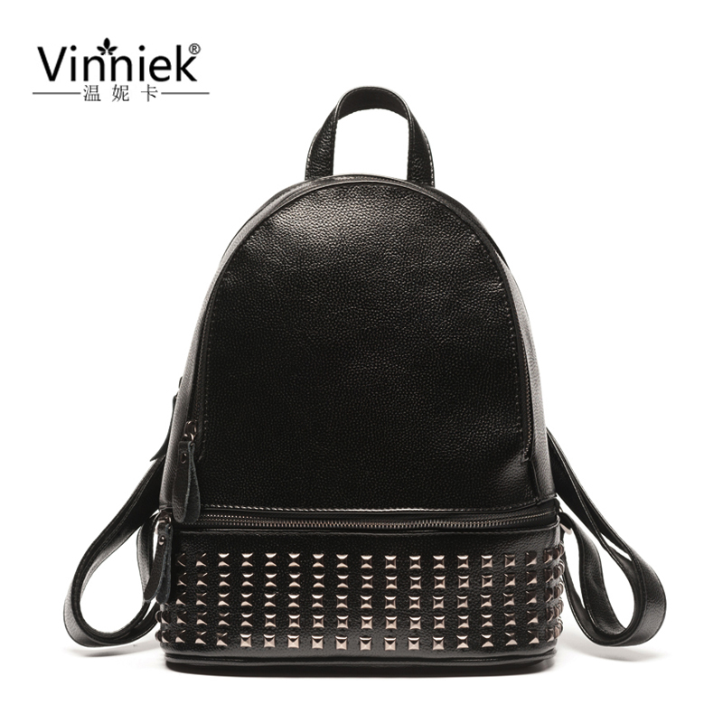 Vinniek Rivet Backpack Women School Bags For Teenage Girls Daily Women Backpack PU Leather Casual Daypacks