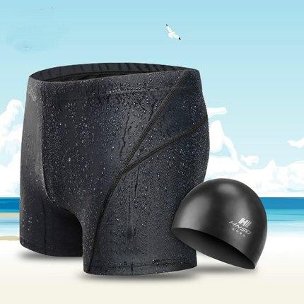 Men's Swimwear Sharkskin Water Repellent Swimming Trunks Sport Shorts Classic Swimsuit Low Waist Boy Briefs With Swimming Cap